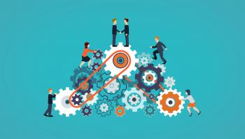 Business People on Cogwheels - Workforce and Teamwork Concept