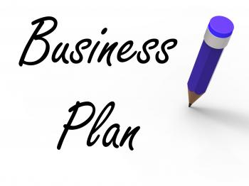 Business Plan with Pencil Shows Written Strategy Vision and Goal