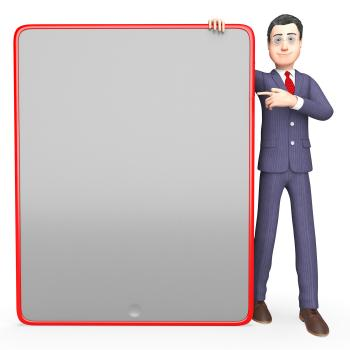Businessman Blank Means Text Space And Board 3d Rendering