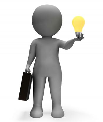 Businessman Lightbulb Shows Power Source And Character 3d Rendering