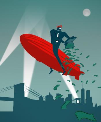Businessman pouring money over Manhattan