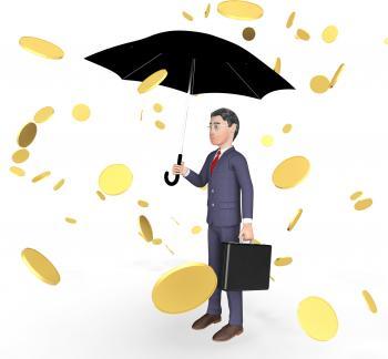 Businessman Profits Means Currency Wealthy And Entrepreneurs 3d Render