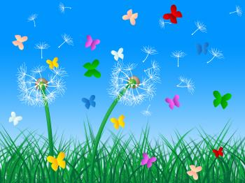 Butterflies Sky Means Dandelion Hair And Butterfly