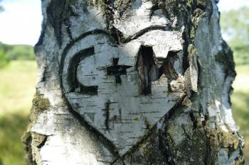 C + M Heart Embossed on Three
