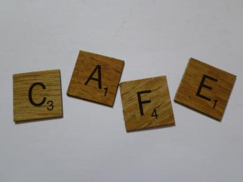 Cafe scrabble style tiles