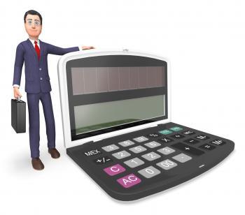 Calculator Businessman Indicates Executive Calculation And Entrepreneu
