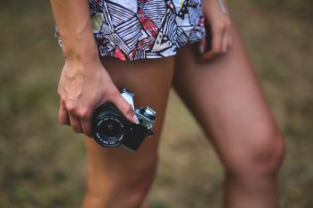 Camera in girls hand