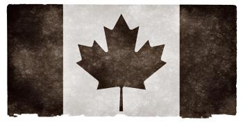 Canada Grunge Flag - Black and White