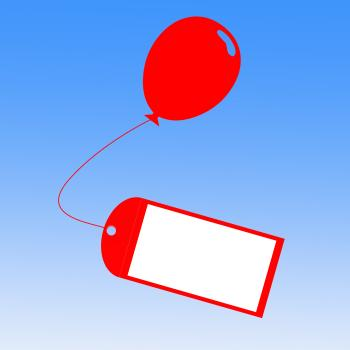 Card Tied To Balloon Shows Greeting Card Or Party Invitation