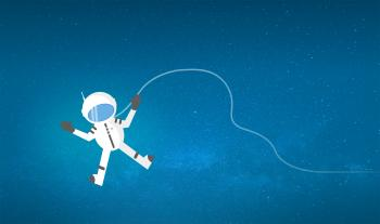 Cartoon Astronaut Drifting and Lost in Space - With Copyspace