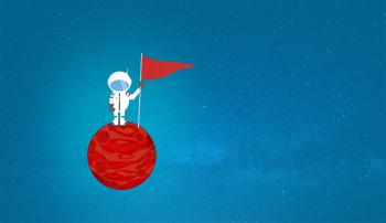 Cartoon Astronaut on a Planet Holding a Flag - With Copyspace