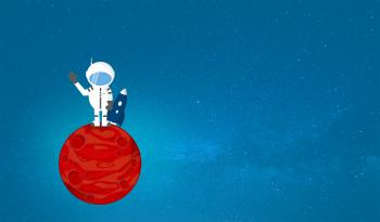Cartoon Astronaut on Red Planet - With Copyspace