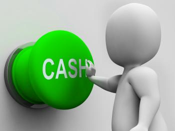 Cash Button Shows Money Earning And Spending