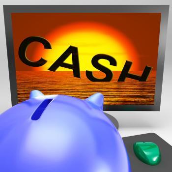 Cash Sinking On Monitor Showing Monetary Crisis
