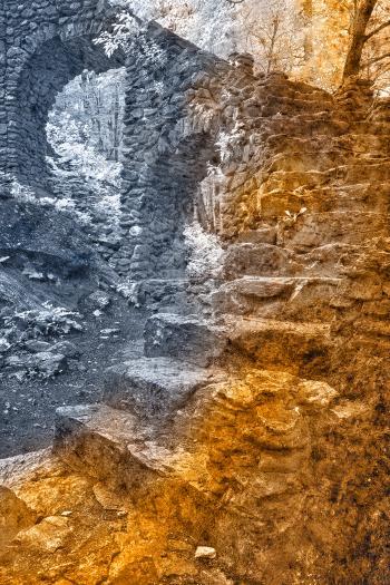 Castle Staircase Ruins - Color Grunge Leak