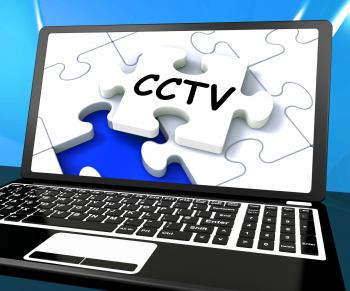CCTV Laptop Monitoring Shows Camera Protection Or Online Surveillance