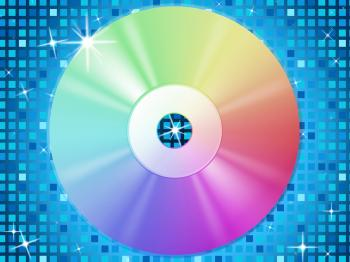 CD Background Means Music Party And Blue Squares
