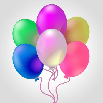 Celebrate With Balloons Indicates Joy Cheerful And Celebrates