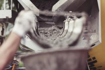 Cement flowing at construction site