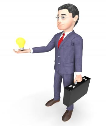 Character Lightbulb Indicates Business Person And Idea 3d Rendering