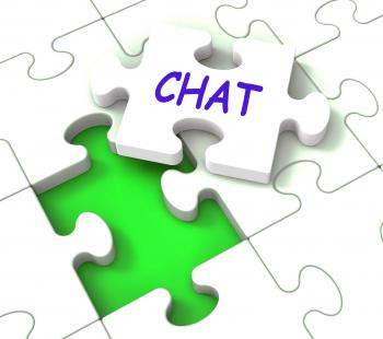 Chat Jigsaw Shows Chatting Talking Typing Or Texting