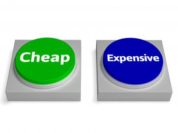 Cheap Expensive Buttons Shows Discount Or Costly