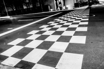 Checkered crosswalk pattern
