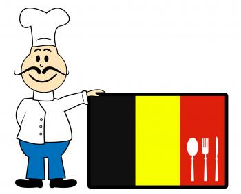 Chef Belgium Indicates Cooking In Kitchen And Catering