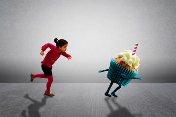 Child Chasing Cupcake - Healthy Diet versus Child Obesity