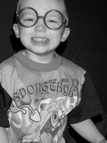 Child Close Up with Silly Glasses B&