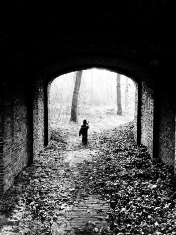 child walking under bridge in forest