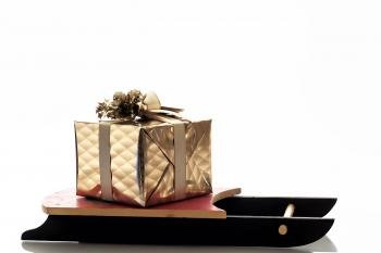 Christmas Sledge with Golden Gift