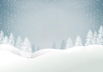 Christmas snowy landscape with trees - Xmas card with copyspace - Blue
