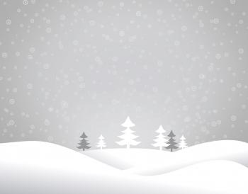 Christmas snowy landscape - Xmas postcard with copyspace