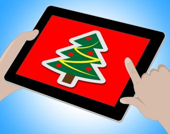 Christmas Tree Online Indicates Xmas Greeting And Computing