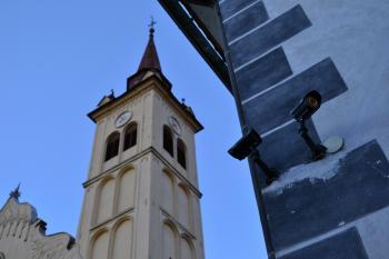 Church with a surveillance camera