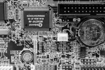 Circuit board black and white texture