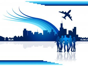 City Flights Represents Transportation Aeroplane And Airplane