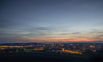 Cityscape over the Horizon during Dusk