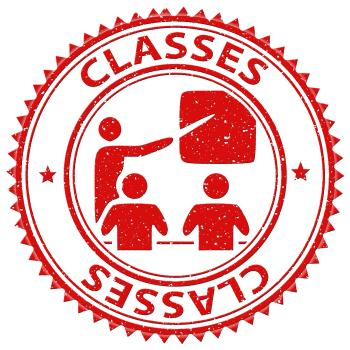 Classes Stamp Indicates Lessons Classrooms And Education