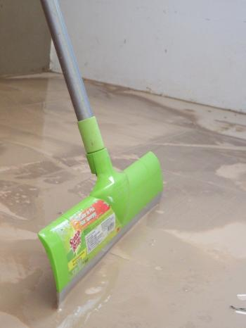 Cleaning up a dirty floor