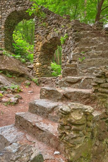 Close-up Castle Staircase Ruins - HDR
