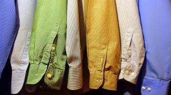 Close-up of Clothes Hanging on Fabric