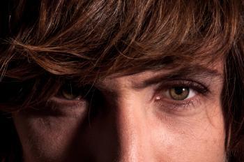 Close up of man eyes and face