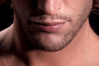 Close up of man lips, beard and face