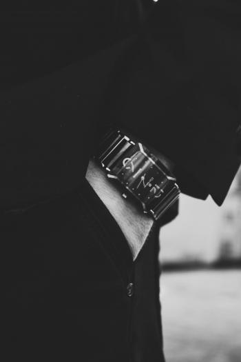 Close-up View of Man Wearing Black Watch