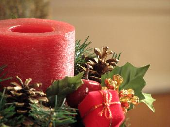 Closeup of a red Christmas candle