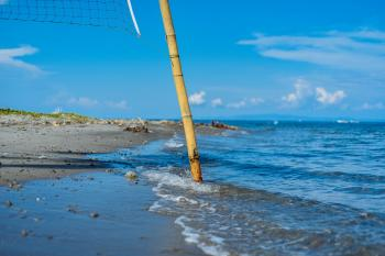 Closeup Photo of Brown Bamboo Beach Volleyball Post Near Shoreline