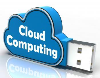 Cloud Computing Cloud Pen drive Shows Digital Services And Online Back