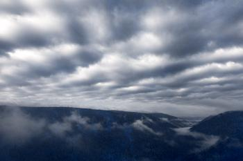Cloudy Mountain Fog - Blue Grunge